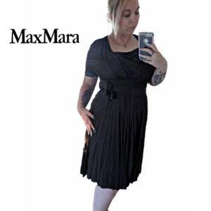 MaxMara | Faux Wrap Tie Brown Midi Party Dress